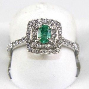 Emerald Diamond Halo Solitaire Ring 14k WG 0.91Ct
